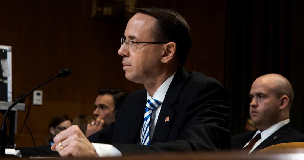 Deputy Attorney General Rod Rosenstein testifies during a Senate appropriations hearing in June 2017