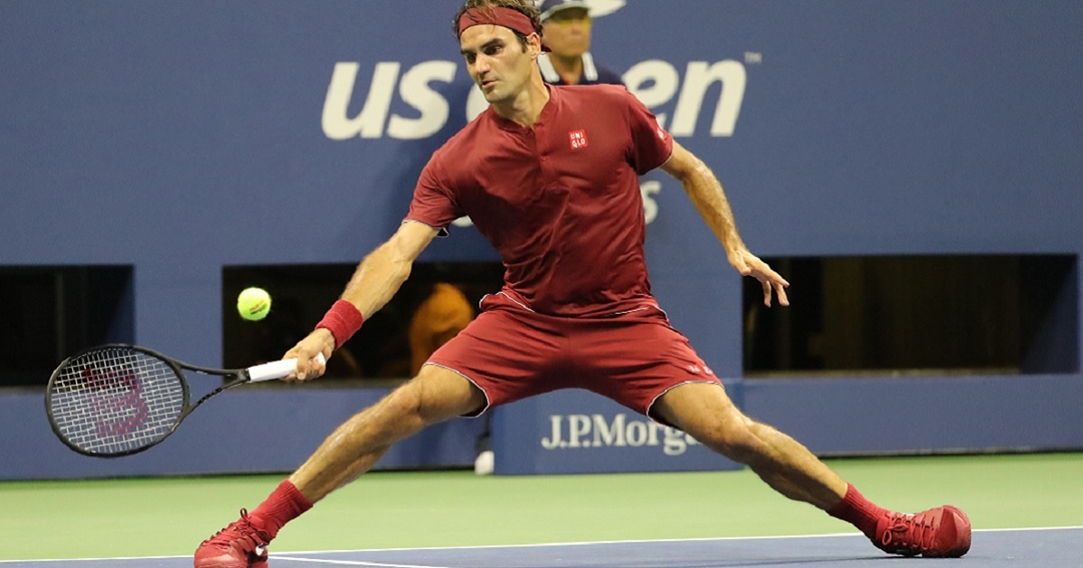 Tennis star Roger Federer on the court during his loss Monday at the US Open in New York.