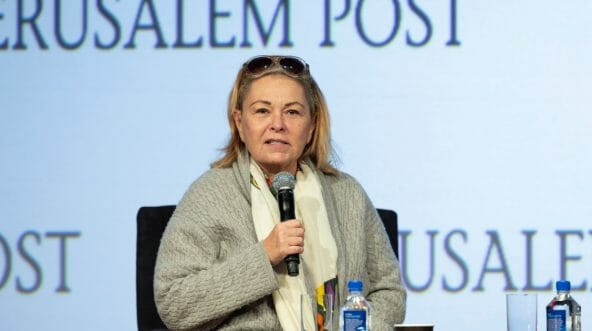 Roseanne Barr interviewed by Dana Weiss during 7th Annual Jerusalem Post Conference at Marriott Marquis Hotel.