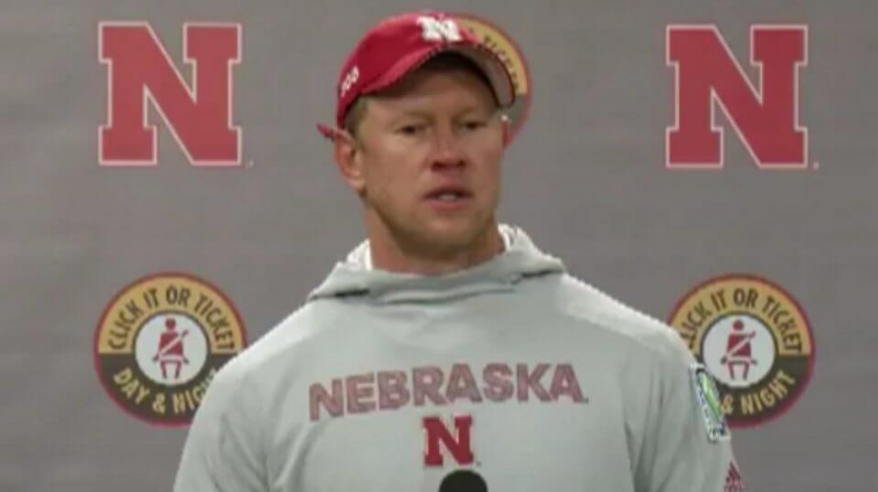 Nebraska head coach Scott Frost speaks to reporters after his team's loss to Purdue on Saturday.