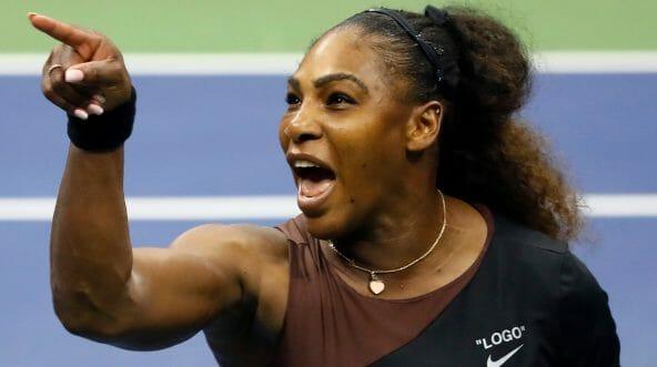 Serena Williams yelling at umpire Carlos Ramos.