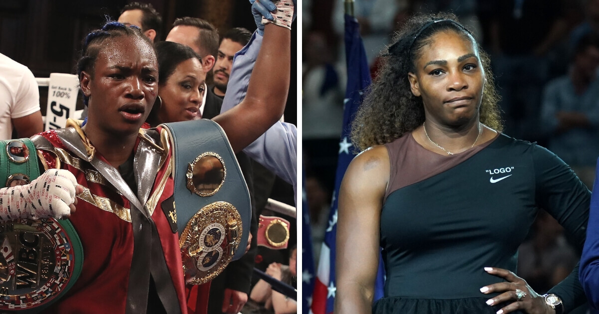 Boxing champion Claressa Shields, left, and tennis star Serena Williams, right.