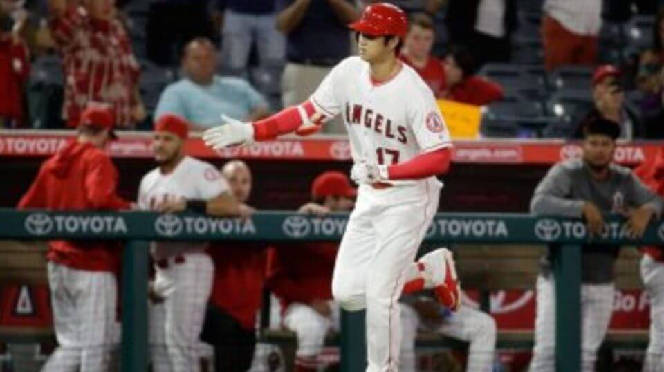 Los Angeles Angels DH Shohei Ohtani celebrates after his home run Monday night against the Texas Rangers.