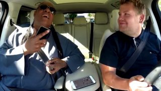 Stevie Wonder singing in the car with James Corden