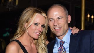 Stormy Daniels and attorney Michael Avenatti are seen at The Abbey on May 23 in West Hollywood, California.
