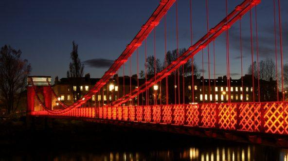 South Portland Street suspension bridge over the River Clyde in Glasgow, Scotland.