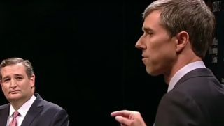 Texas Sen. Ted Cruz, left, took part in a debate with Democratic challenger Beto O'Rourke, right, Friday in Dallas.