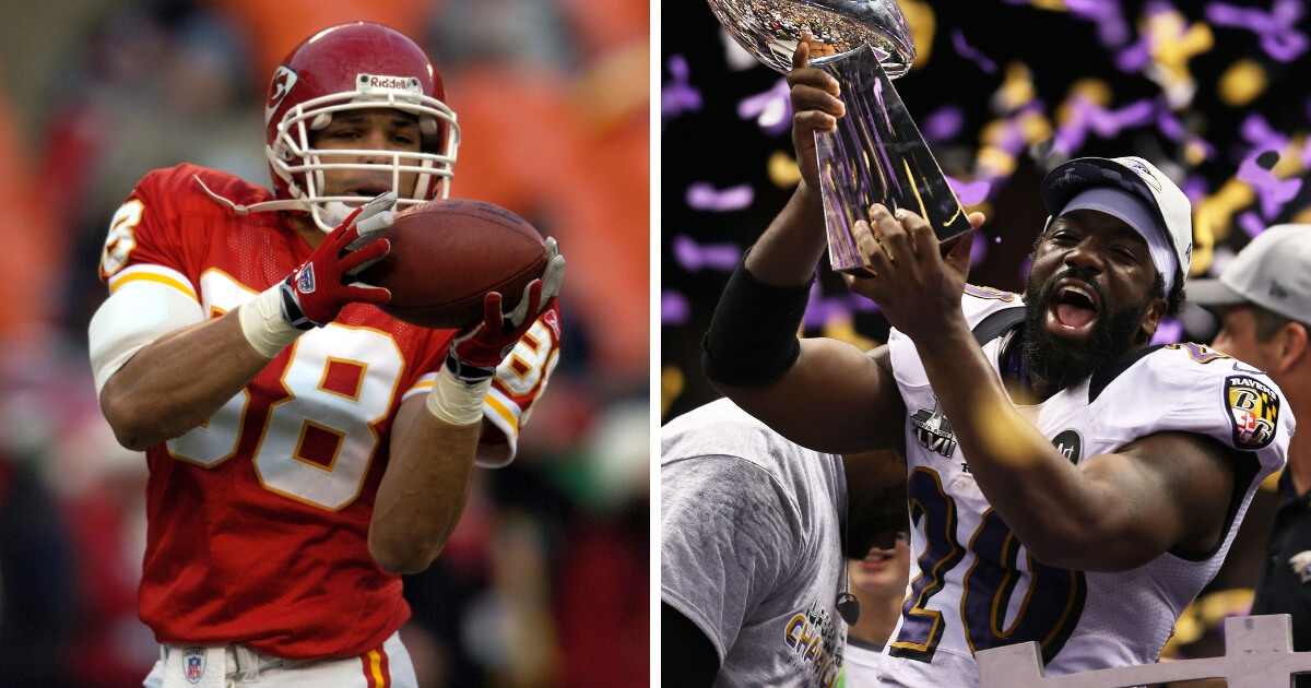 Kansas City Chiefs tight end Tony Gonzalez, left, and Baltimore Ravens safety Ed Reed, right.
