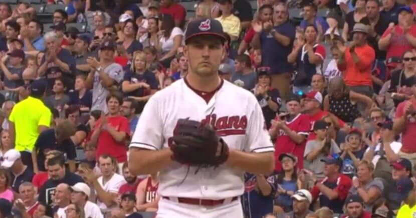 Cleveland pitcher Trevor Bauer recorded his 200th strikeout of the season Saturday.
