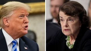President Donald Trump, left, and Sen. Dianne Feinstein, right.