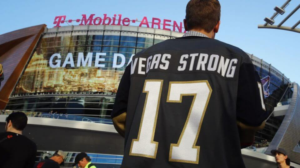 Fans arrive for the Golden Knights' inaugural regular-season home opener against the Arizona Coyotes at T-Mobile Arena on Oct. 10, 2017 in Las Vegas