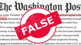 A portion of a recent Washington Post story has been labeled 'False'
