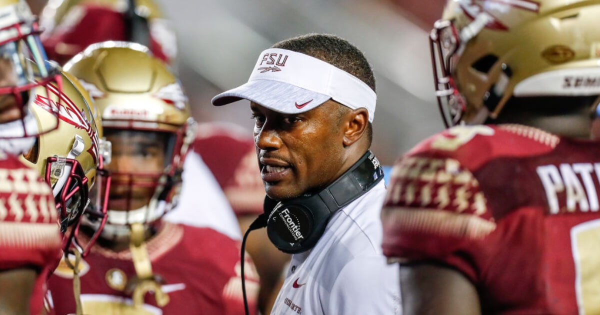 Florida State head coach Willie Taggart talks to his team during the game against the Samford Bulldogs in Tallahassee, Florida. Florida State has started its season 1-2.