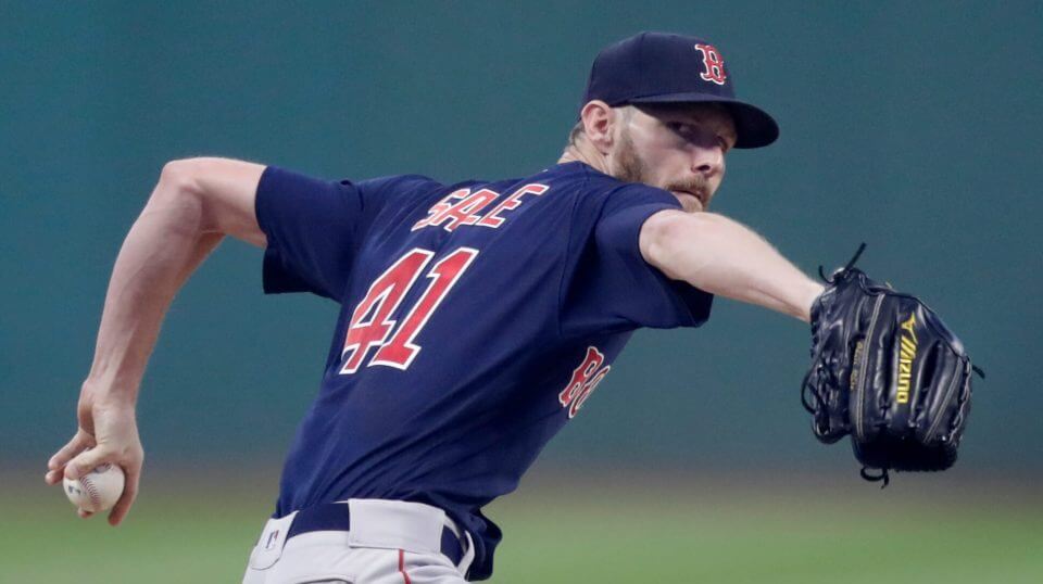 Boston Red Sox starting pitcher Chris Sale delivers in the first inning of the team's game Friday against the Indians on Friday.