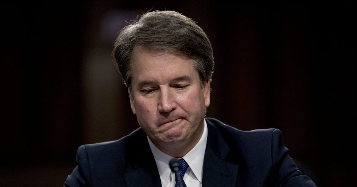 Supreme Court nominee Brett Kavanaugh becomes emotional as he gives his opening statement before the Senate Judiciary Committee on Capitol Hill in Washington.