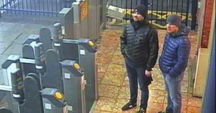 This still taken from CCTV and issued by the Metropolitan Police in London shows Ruslan Boshirov and Alexander Petrov at Salisbury train station on March 3, 2018. British prosecutors have charged the two men with the nerve agent poisoning of ex-spy Sergei Skripal and his daughter Yulia in the English city of Salisbury earlier this year.