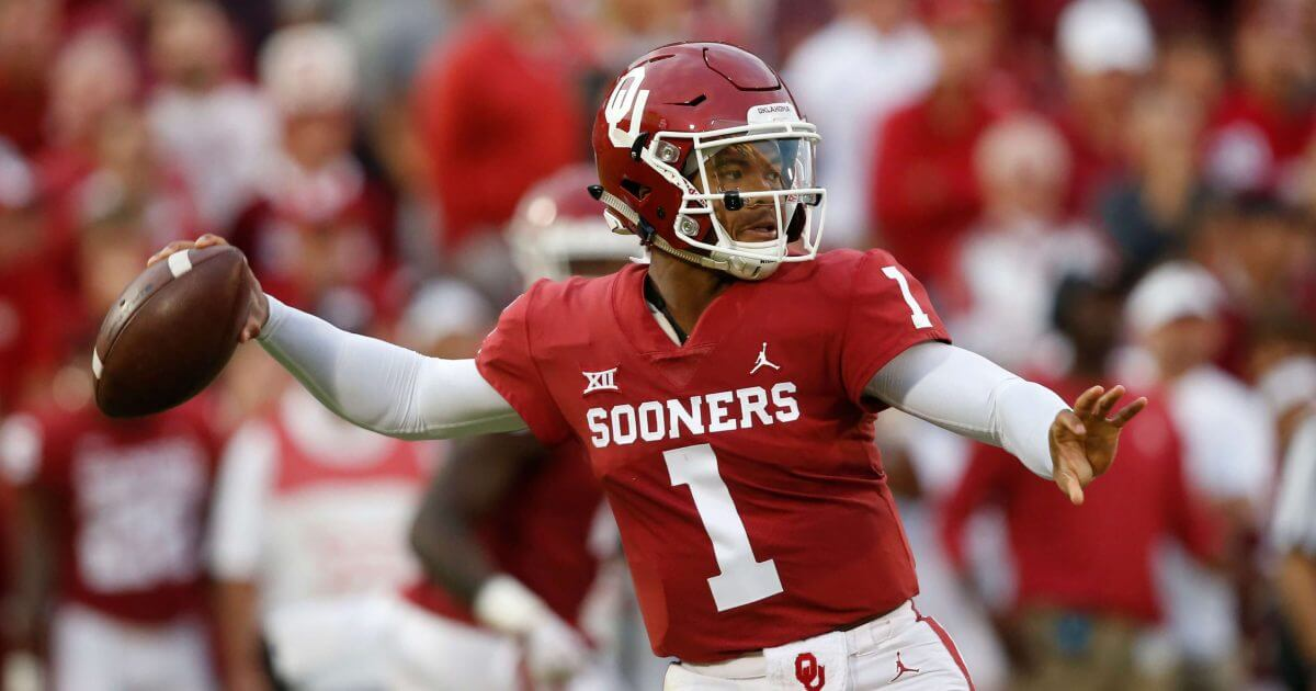 Oklahoma quarterback Kyler Murray throws against Army in Norman, Oklahoma on Saturday.