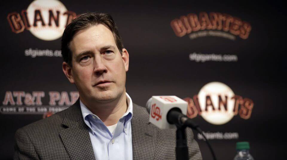 San Francisco Giants general manager Bobby Evans during a news conference Jan. 19 in San Francisco. Evans has been fired as the Giants' general manager.