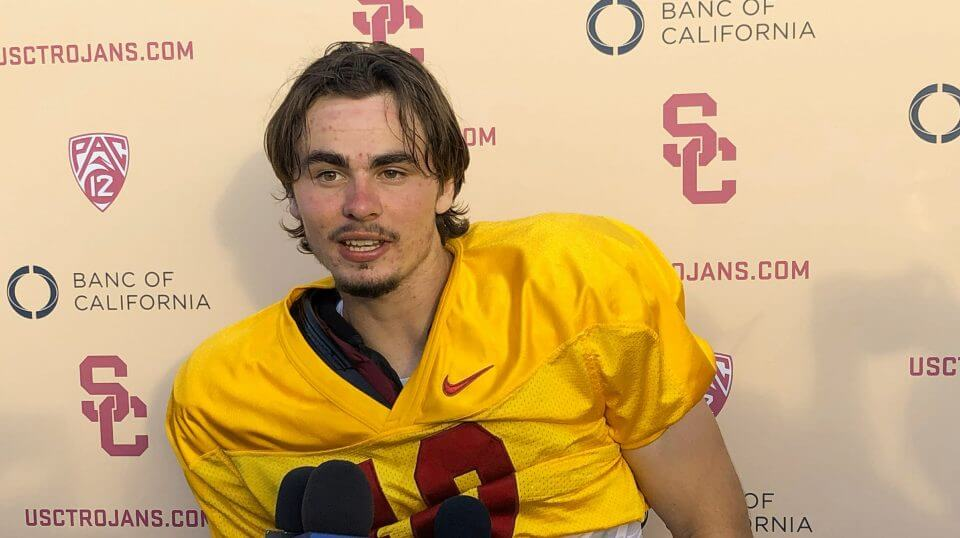 USC quarterback J.T. Daniels speaks to reporters Aug. 28 following his first practice after winning the Trojans' starting job in Los Angeles. There is little question about the talent in Daniels, USC's first true freshman starting quarterback in a decade.