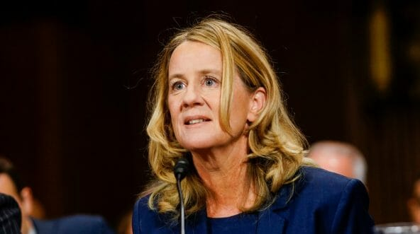 Christine Blasey Ford answers questions at a Senate Judiciary Committee hearing.