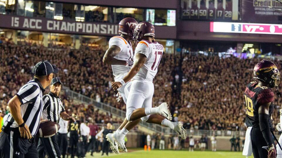 Virginia Tech Hokies wide receiver Damon Hazelton, left, and quarterback quarterback Josh Jackson celebrate a touchdown on their first drive against Florida State on Monday night in Tallahassee.