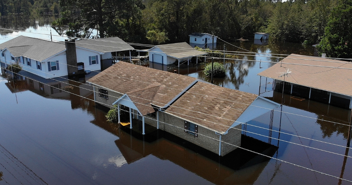 Flooded houses in aftermath of Florence