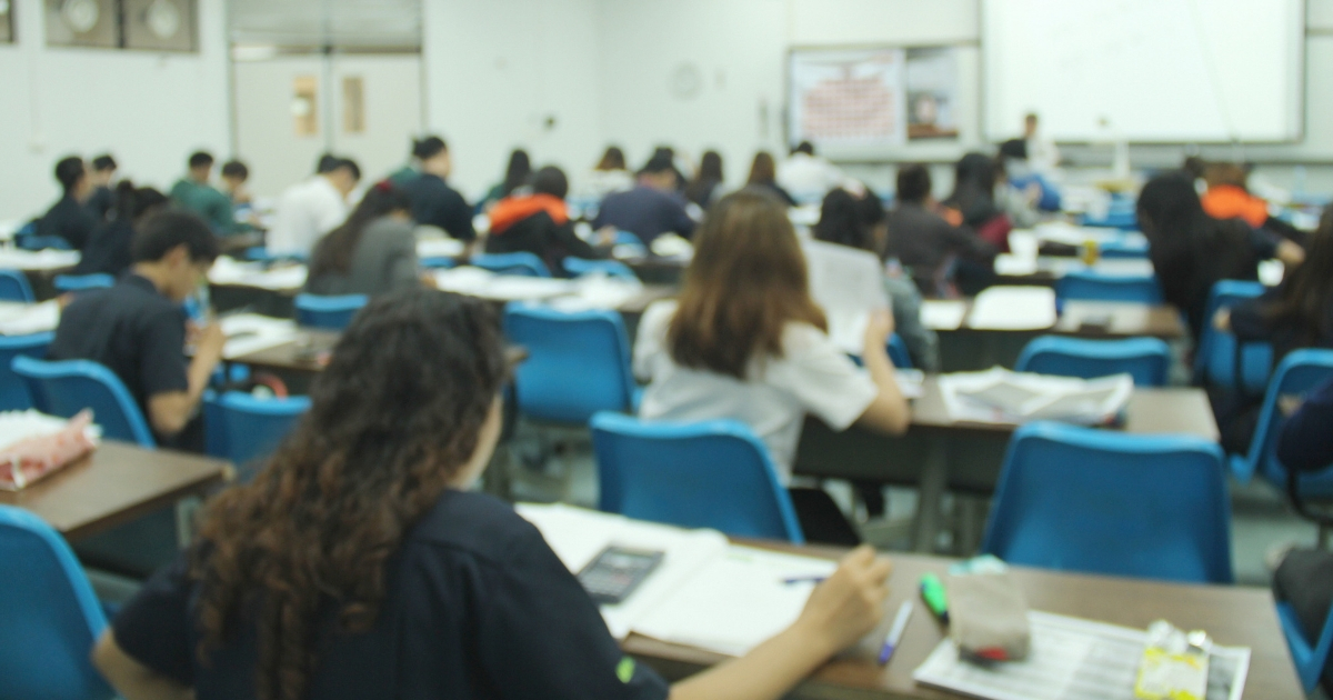 Students in high school classroom