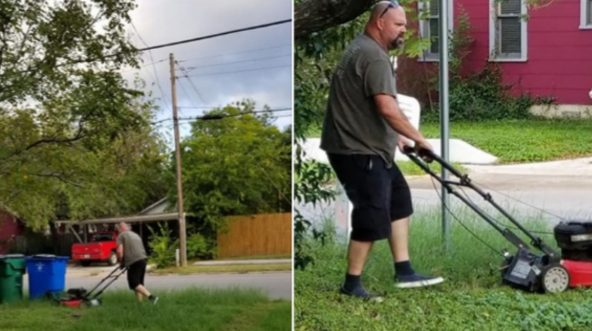 A woman in Texas shared this photo of her dad mowing her mother's lawn, even though the two have been divorced for nearly 30 years.