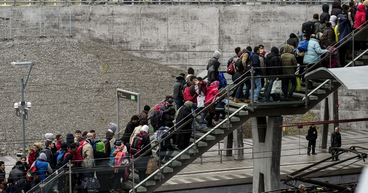 Line of refugees on stairs