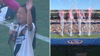 A little girl sings the national anthem and fireworks explode.