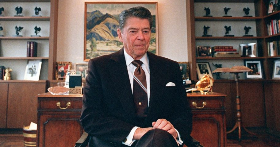 President Ronald Reagan sits in his office in June 1989.
