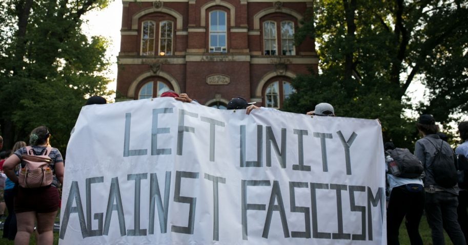 Leftists protest at university in Virginia.