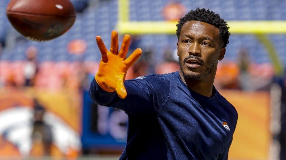 Wide receiver Demaryius Thomas warms up before the Denver Broncos' game against the Seattle Seahawks on Sept. 9.