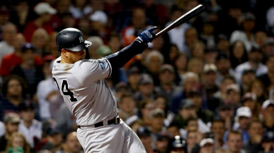 New York Yankees' catcher Gary Sanchez watches his three-run home run against the Boston Red Sox during Game 2 of the American League Division Series, Saturday in Boston.