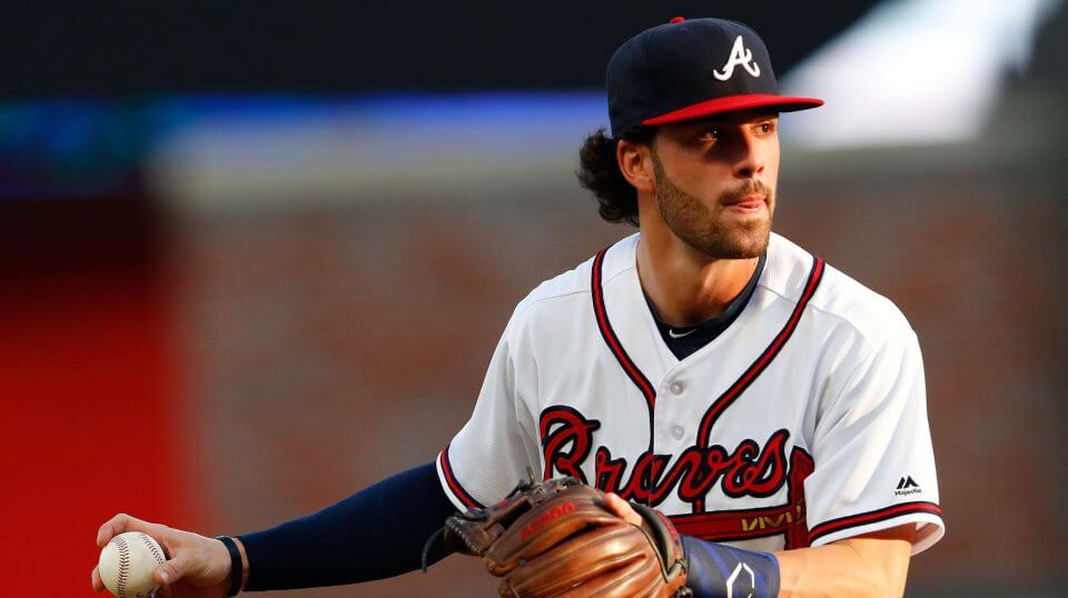 In this May 30, 2018, file photo, Atlanta Braves shortstop Dansby Swanson (7) warms up before the first inning of a baseball game against the New York Mets, in Atlanta. The Braves are trying to determine the status of shortstop Dansby Swanson, who has a sore wrist, as they prepare to open their NLDS against the Los Angeles Dodgers.