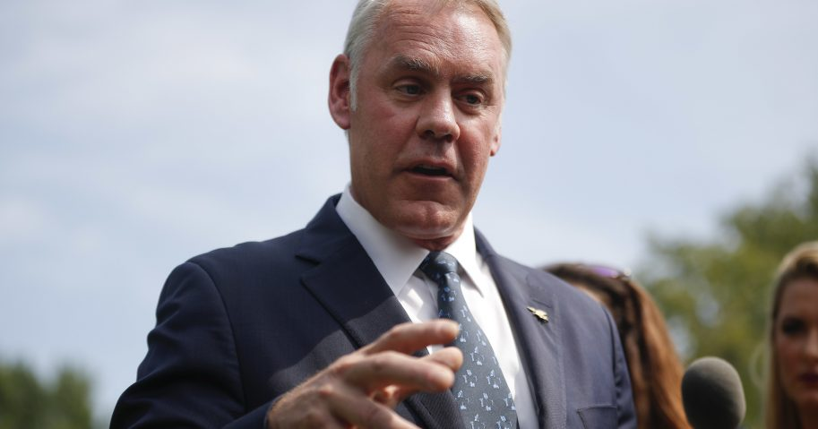 nterior Secretary Ryan Zinke speaks to members of the media