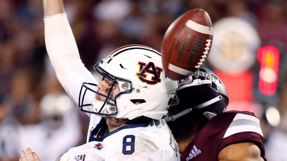 Mississippi State's Montez Sweat (9) forces Auburn quarterback Jarrett Stidham (8) to fumble as he attempts to pass during the second half of their NCAA college football game Saturday.