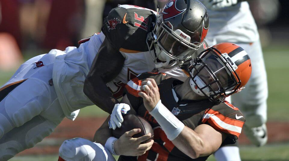 Tampa Bay Buccaneers defensive back Jordan Whitehead hits Cleveland Browns quarterback Baker Mayfield during the second half of their game Sunday in Tampa.