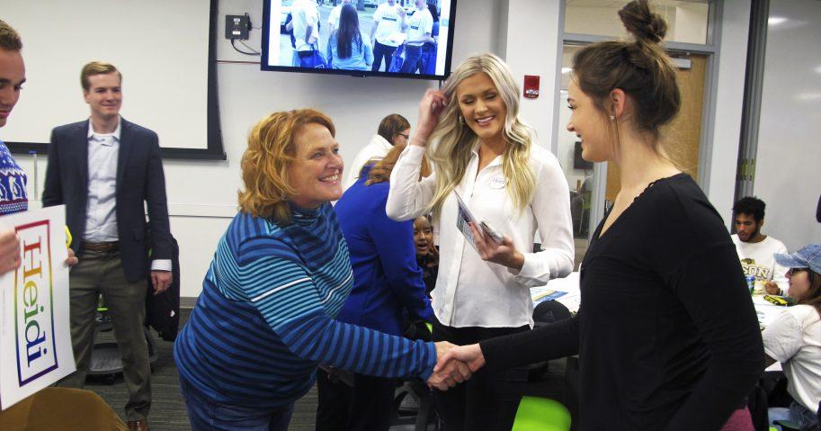 U.S. Sen. Heidi Heitkamp talks to North Dakota State University students during a campaign even