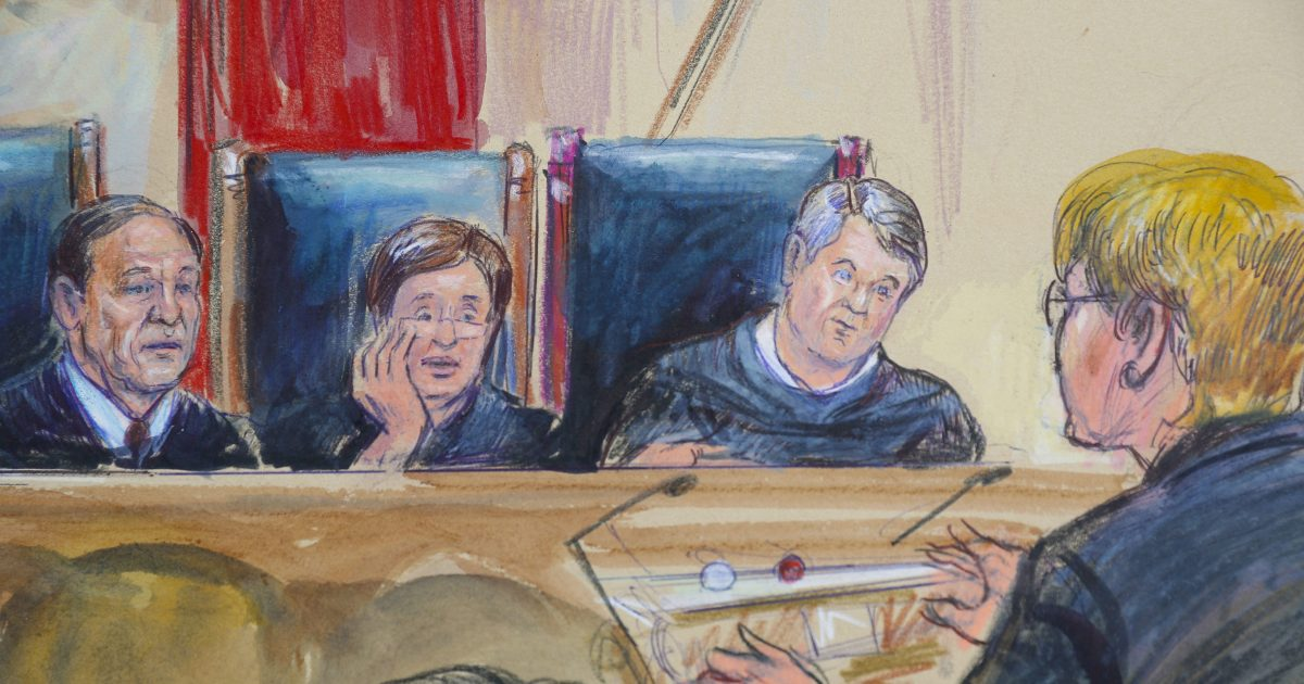 This courtroom sketch depicts Attorney Brenda G. Bryn, far right, speaking in front of (from left), Associate Justice Samuel Alito Jr., Associate Justice Elena Kagan and Associate Justice Brett Kavanaugh, at the Supreme Court on Tuesday.