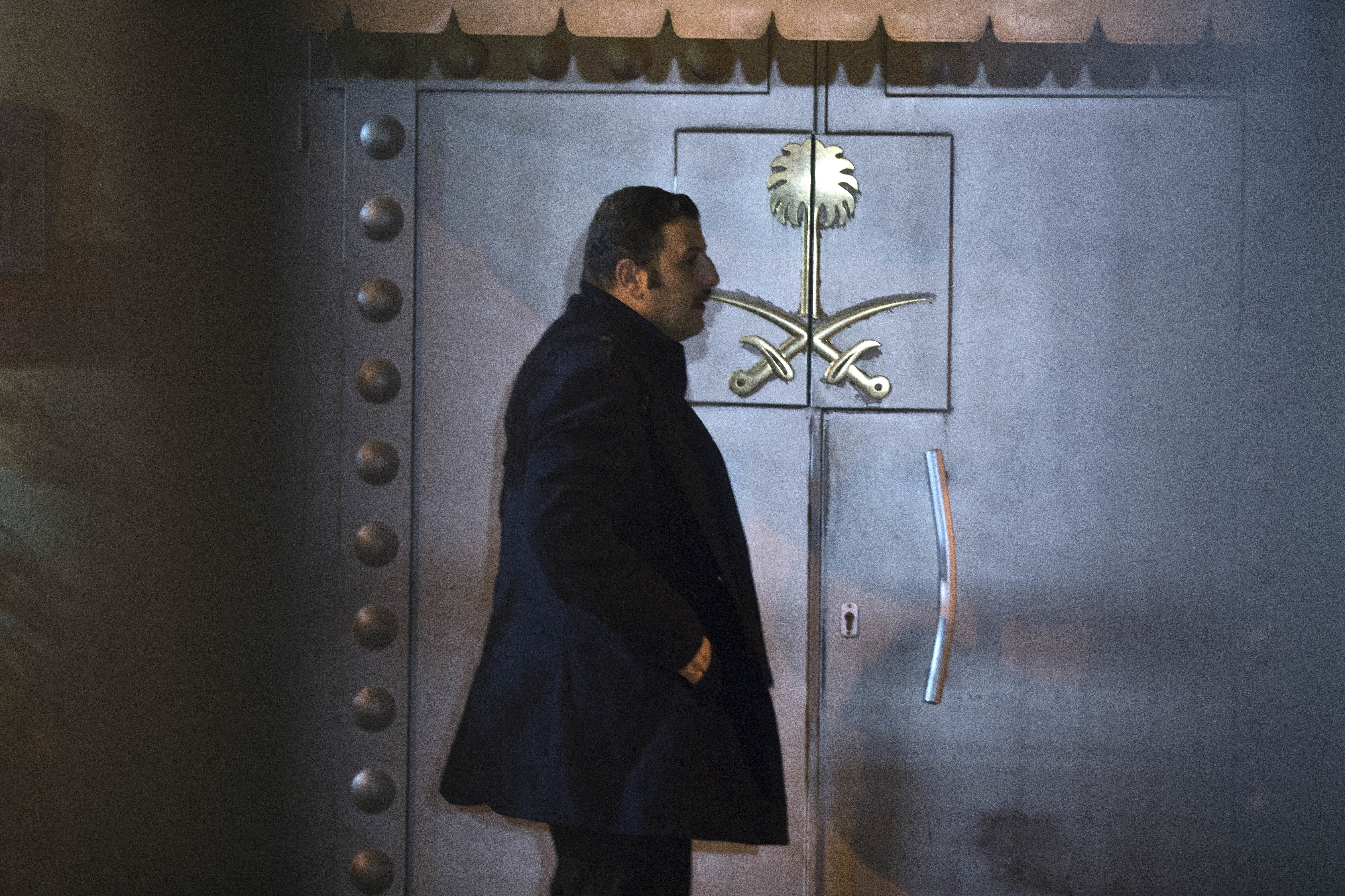 A security personnel stands at the entrance of Saudi Arabia's consulate in Istanbul