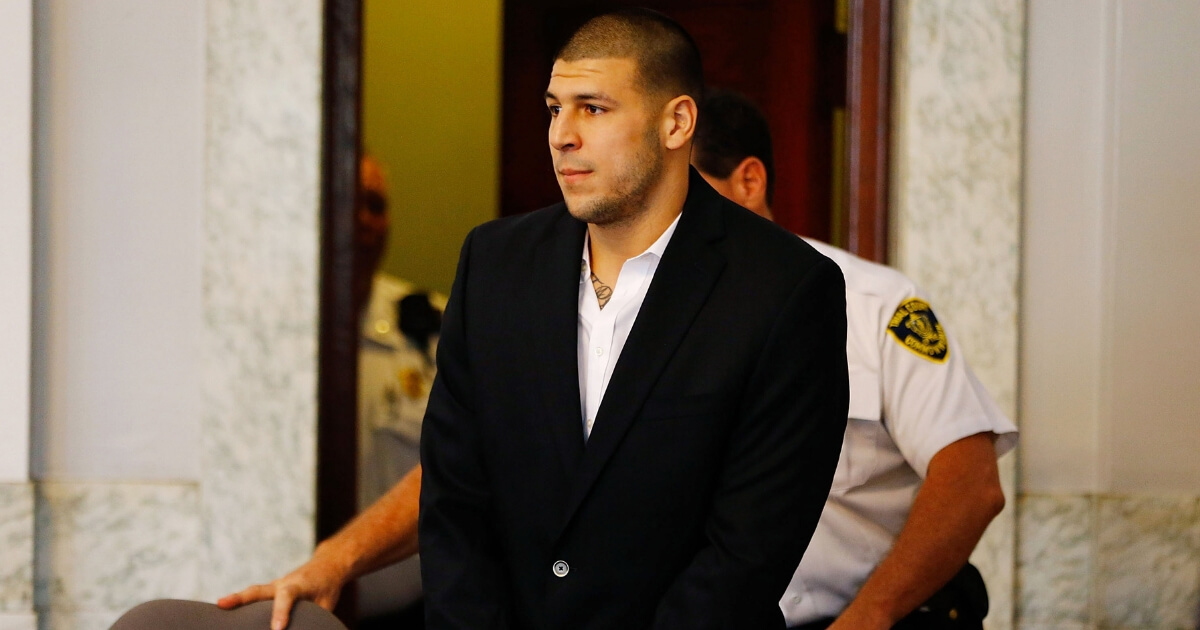 Aaron Hernandez during a 2013 court appearance after being indicted on a first-degree murder charge in the death of Odin Lloyd.