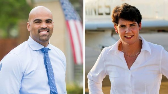 Democratic candidates Colin Allred, left, and Amy McGrath are running in Kentucky's 6th Congressional District and Texas' 32nd District, respectively.