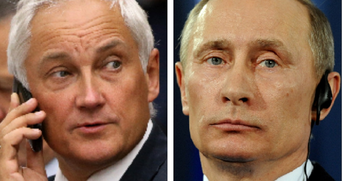 Andrei Belousov, left, told the United Nations on Friday that his country is preparing for war. Russian leader Vladimir Putin is at the right.