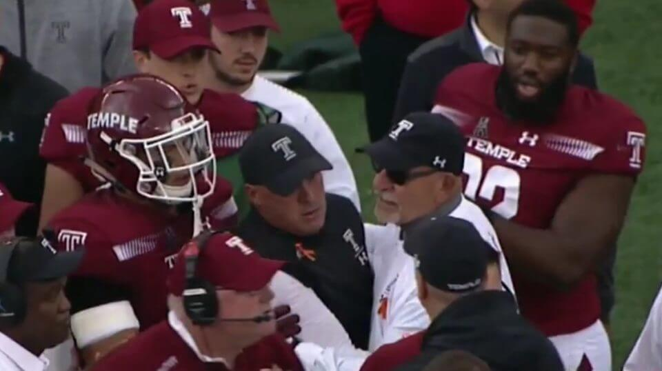 Temple coach Geoff Collins was incensed after a cheap shot on one of his players against Cincinnati.