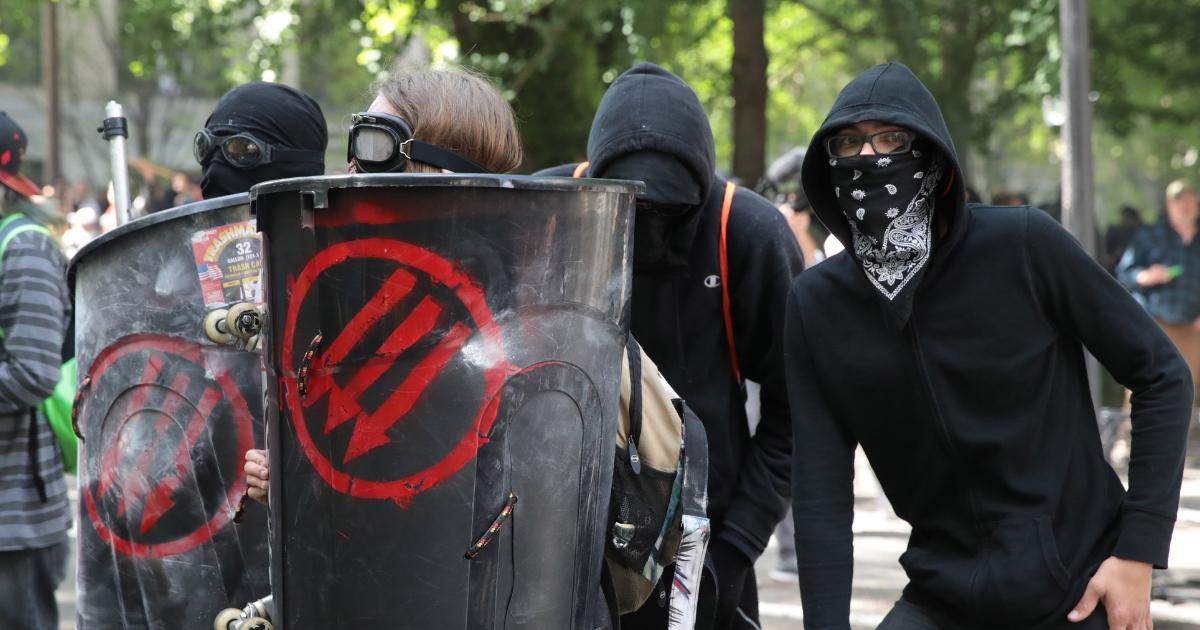Antifa members and anti-Trump protesters