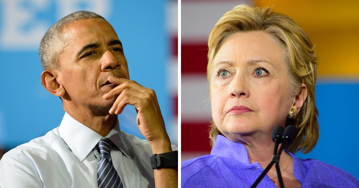 Former President Barack Obama and 2016 Democratic presidential nominee Hillary Clinton.