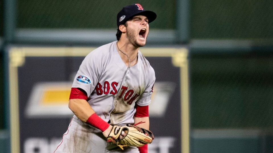 Andrew Benintendi of the Boston Red Sox reacts after catching the final out in Game 4 of the American League Championship Series against the Houston Astros on Wednesday at Minute Maid Park.