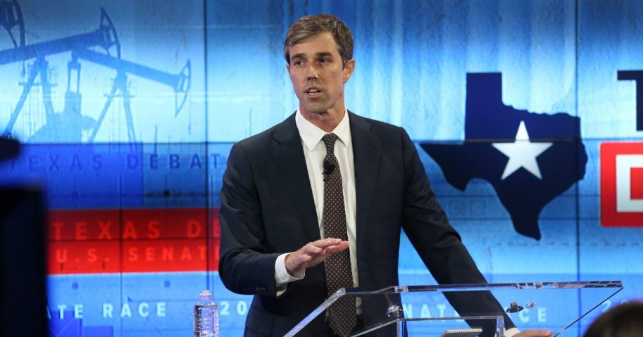 U.S. Rep. Beto O'Rourke debates U.S. Sen. Ted Cruz at the KENS 5 studios on October 16, 2018, in San Antonio, Texas.