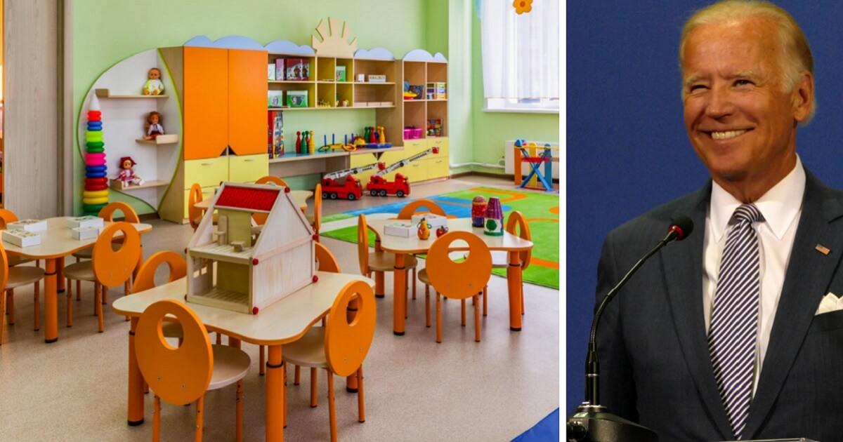 An empty kindergarten classroom, left; and former Vice President Joe Biden, right.